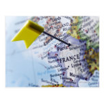 Map pin placed in Paris, France on map, close-up Postcard