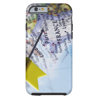 Map pin placed in Paris, France on map, close-up Tough iPhone 6 Case