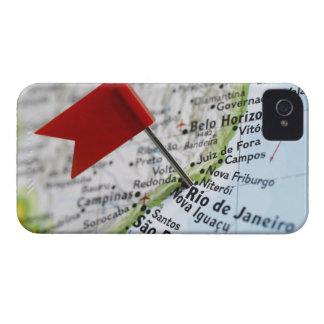 Map pin placed in Rio de Janeiro, Brazil on map, iPhone 4 Case-Mate Case