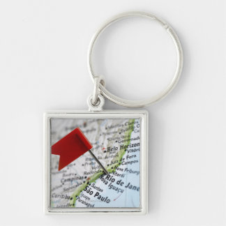 Map pin placed in Rio de Janeiro, Brazil on map, Keychains