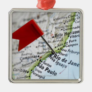 Map pin placed in Rio de Janeiro, Brazil on map, Metal Ornament