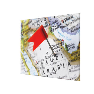 Map pin placed in Riyadh, Saudi Arabia on map, Canvas Print