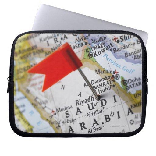 Map pin placed in Riyadh, Saudi Arabia on map, Laptop Computer Sleeve