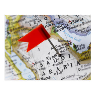 Map pin placed in Riyadh, Saudi Arabia on map, Postcard
