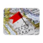 Map pin placed in Riyadh, Saudi Arabia on map, Rectangular Photo Magnet