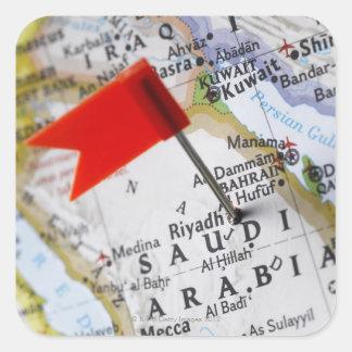 Map pin placed in Riyadh, Saudi Arabia on map, Square Sticker