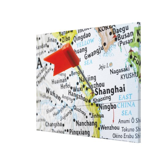 Map pin placed in Shanghai, China on map, Canvas Print