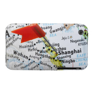 Map pin placed in Shanghai, China on map, iPhone 3 Case-Mate Case