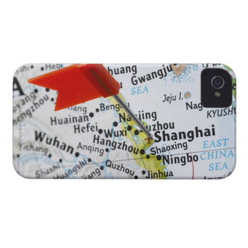 Map pin placed in Shanghai, China on map, Case-Mate iPhone 4 Cases