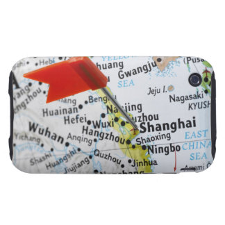 Map pin placed in Shanghai, China on map, iPhone 3 Tough Cover
