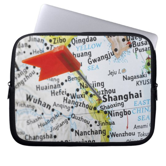 Map pin placed in Shanghai, China on map, Computer Sleeve