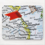 Map pin placed in Shanghai, China on map, Mousepads
