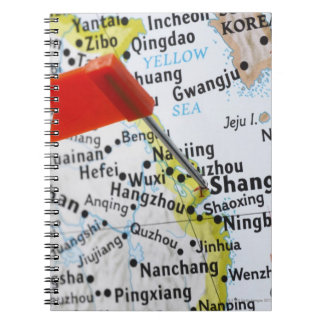 Map pin placed in Shanghai, China on map, Notebook