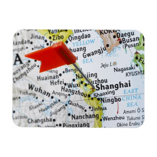 Map pin placed in Shanghai, China on map, Rectangle Magnets
