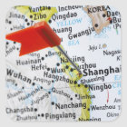 Map pin placed in Shanghai, China on map, Square Sticker