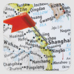 Map pin placed in Shanghai, China on map, Square Stickers