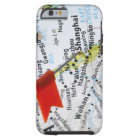 Map pin placed in Shanghai, China on map, Tough iPhone 6 Case