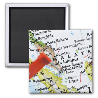 Map pin placed in Singapore on map, close-up 2 Inch Square Magnet