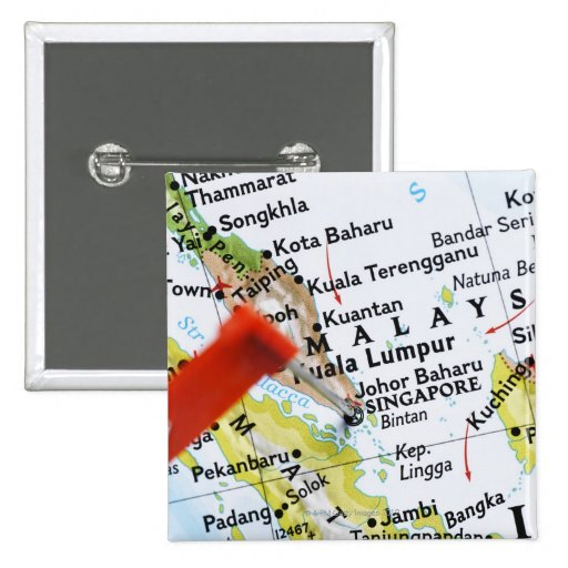 Map pin placed in Singapore on map, close-up
