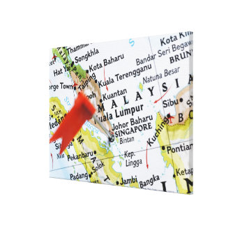 Map pin placed in Singapore on map, close-up Canvas Print