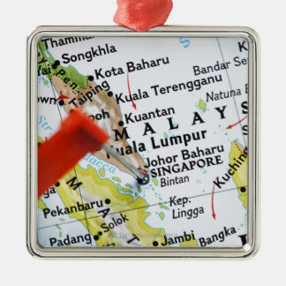 Map pin placed in Singapore on map, close-up Metal Ornament
