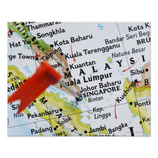 Map pin placed in Singapore on map, close-up Poster
