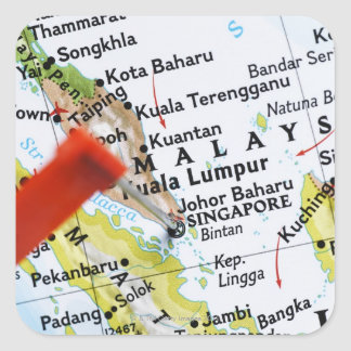 Map pin placed in Singapore on map close-up Sticker