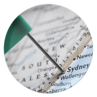 Map pin placed in Sydney, Australia on map, Melamine Plate