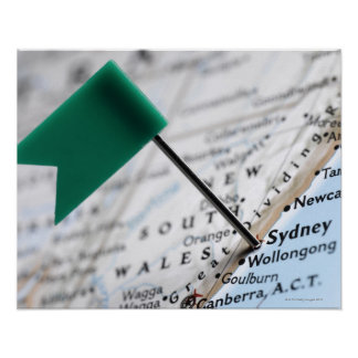 Map pin placed in Sydney, Australia on map, Poster