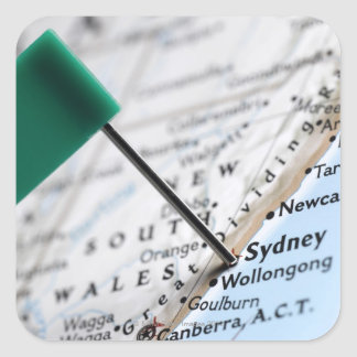 Map pin placed in Sydney, Australia on map, Square Sticker
