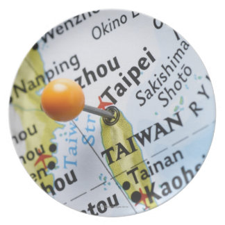 Map pin placed in Taipei, Taiwan on map, Dinner Plate
