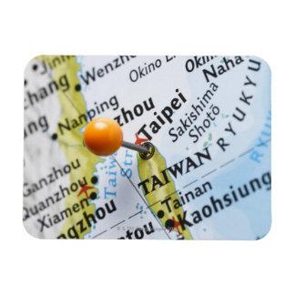 Map pin placed in Taipei, Taiwan on map, Rectangular Photo Magnet