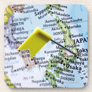 Map pin placed in Tokyo, Japan on map, close-up Beverage Coaster