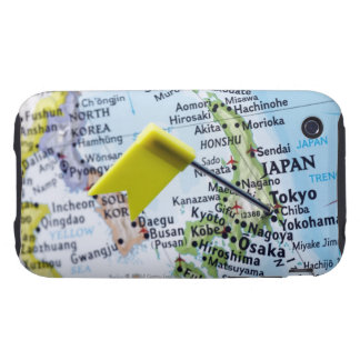 Map pin placed in Tokyo, Japan on map, close-up iPhone 3 Tough Cover