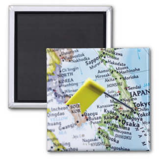 Map pin placed in Tokyo, Japan on map, close-up 2 Inch Square Magnet