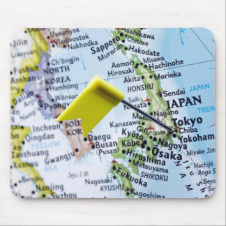Map pin placed in Tokyo, Japan on map, close-up Mouse Pad