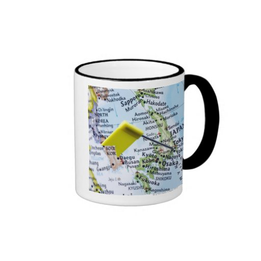 Map pin placed in Tokyo, Japan on map, close-up Ringer Coffee Mug