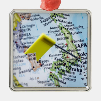 Map pin placed in Tokyo, Japan on map, close-up Square Metal Christmas Ornament