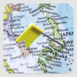 Map pin placed in Tokyo, Japan on map, close-up Square Sticker