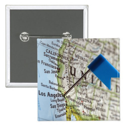 Map pin placed on Los Angeles, California on