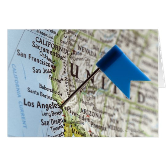 Map pin placed on Los Angeles, California on Card