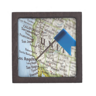 Map pin placed on Los Angeles, California on Jewelry Box