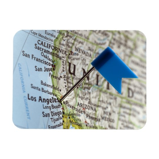 Map pin placed on Los Angeles, California on Magnet