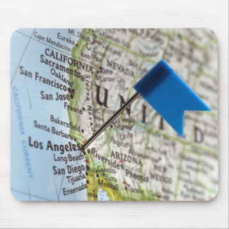 Map pin placed on Los Angeles, California on Mouse Pad