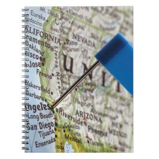 Map pin placed on Los Angeles, California on Notebook