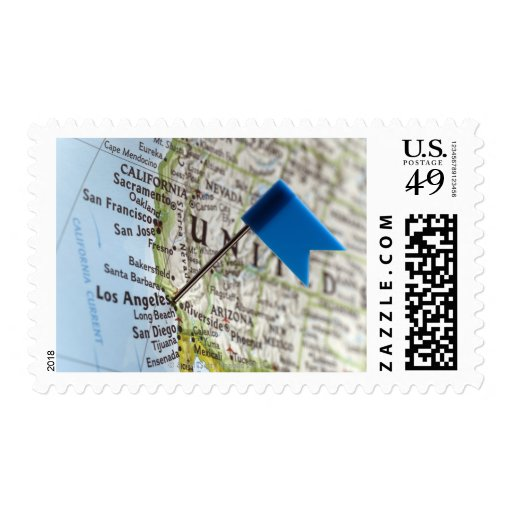 Map pin placed on Los Angeles, California on Postage