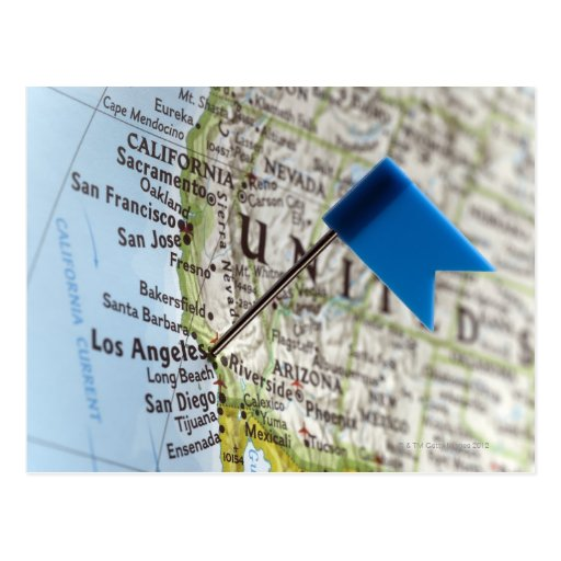 Map pin placed on Los Angeles, California on Postcard