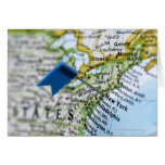Map pin placed on New York City on map, close-up Card