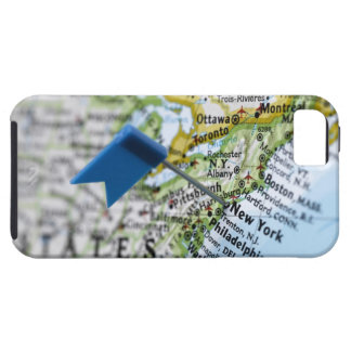 Map pin placed on New York City on map, close-up iPhone 5 Cases