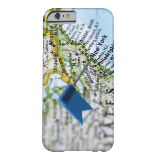 Map pin placed on New York City on map, close-up Barely There iPhone 6 Case
